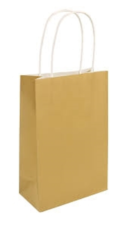 Party Bag, Gold with Handles, 14x21x7cm