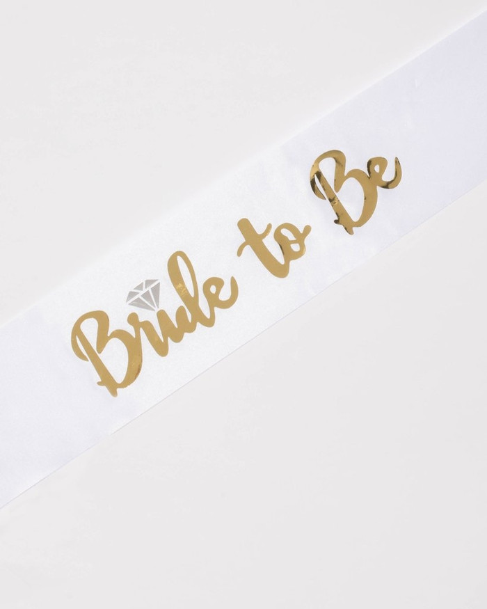 Bride To Be Sash, White and Gold, with ring.