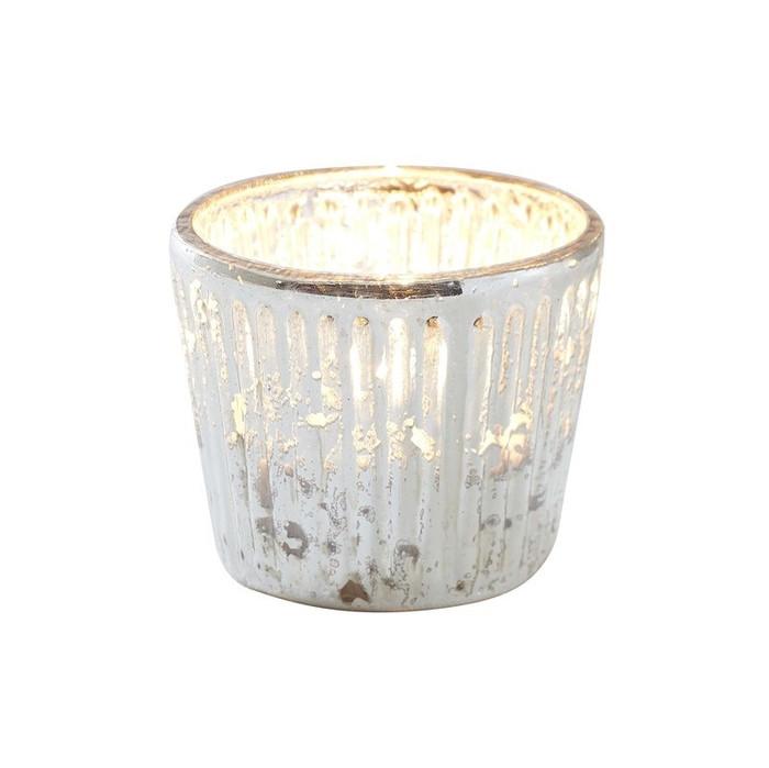 Ribbed Glass Tea Light Holder - Silver