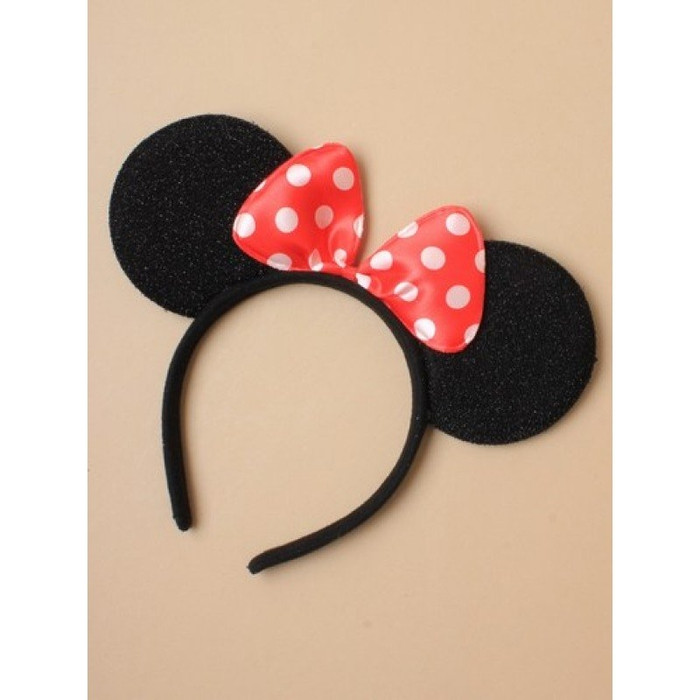 Sparkly Mouse Ears with Red Satin Bow & White Polka Dots