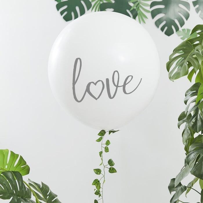 White Giant Printed Love Balloon