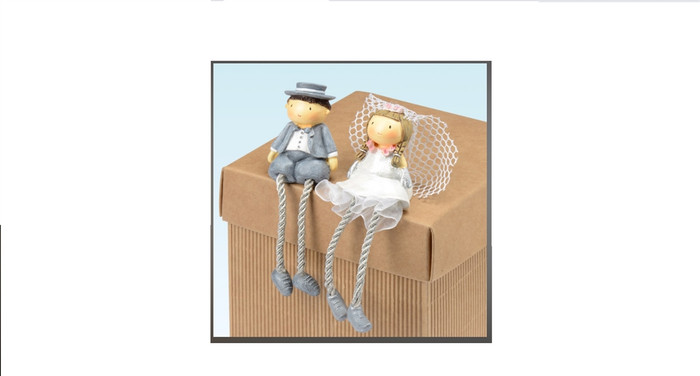 Resin Mr & Mrs with Dangly Legs Small