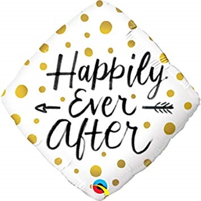 """18"""" Happily Ever After Black & Gold Foil Balloon (1)"""