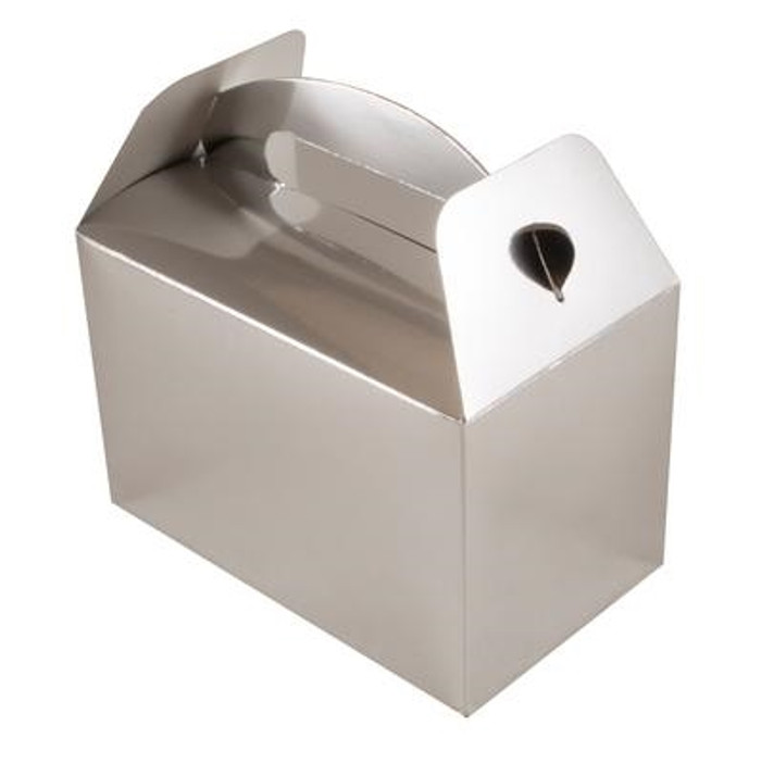 Party Box, (6) Silver With Handles, 10lx15wx9hcm