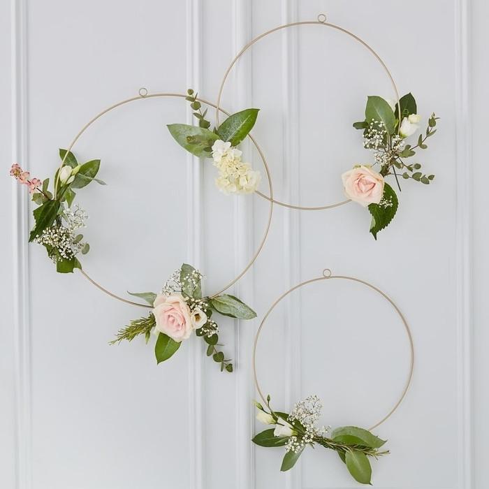 Gold Floral Hanging Hoops - Gold Wedding
