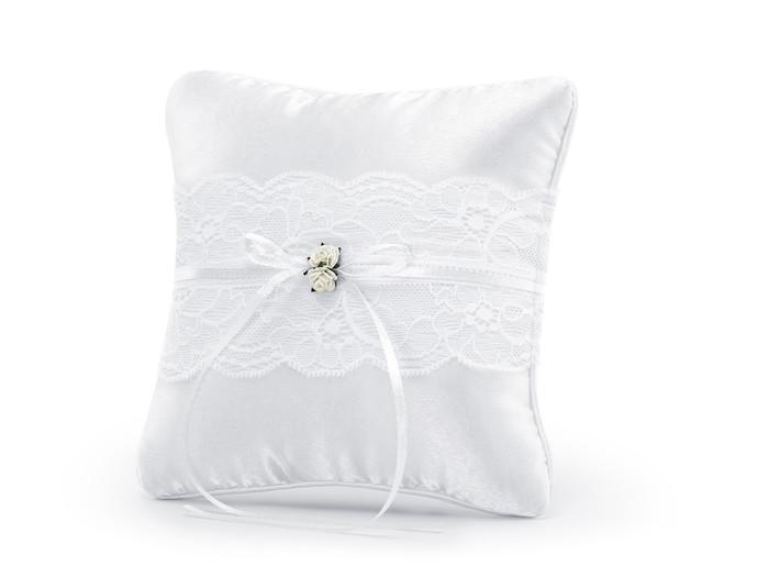 Ring Bearer Pillow, White 16cm x 16cm