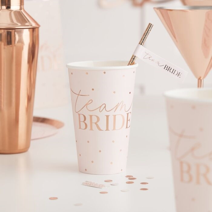 Blush - Team Bride Paper Cups, 8 Cups