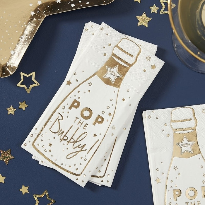 Gold Champagne Bottle Shaped Paper Party Napkins - Pop The Bubbly