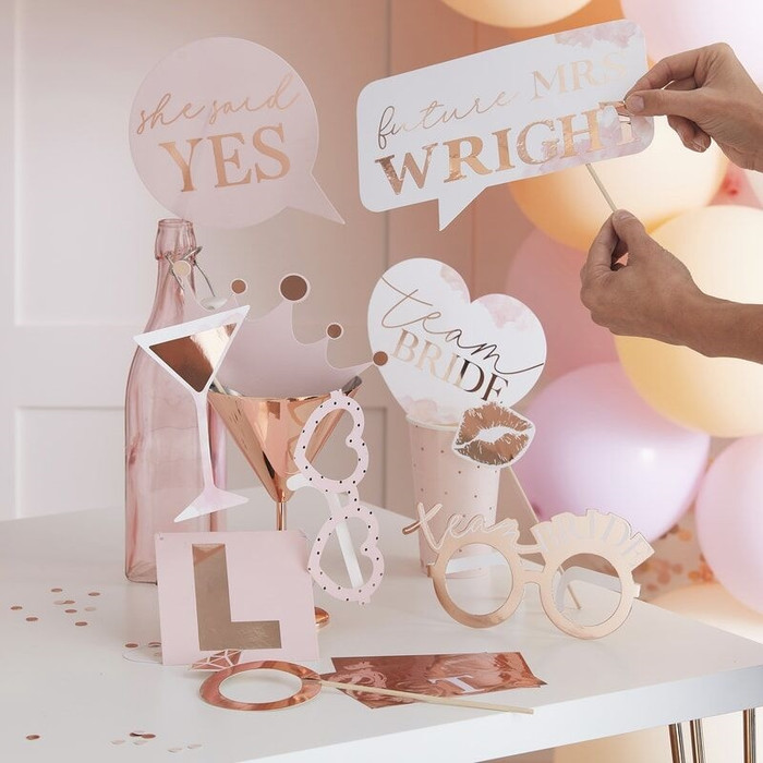 Blush -photo booth hens props- with stickers to customise