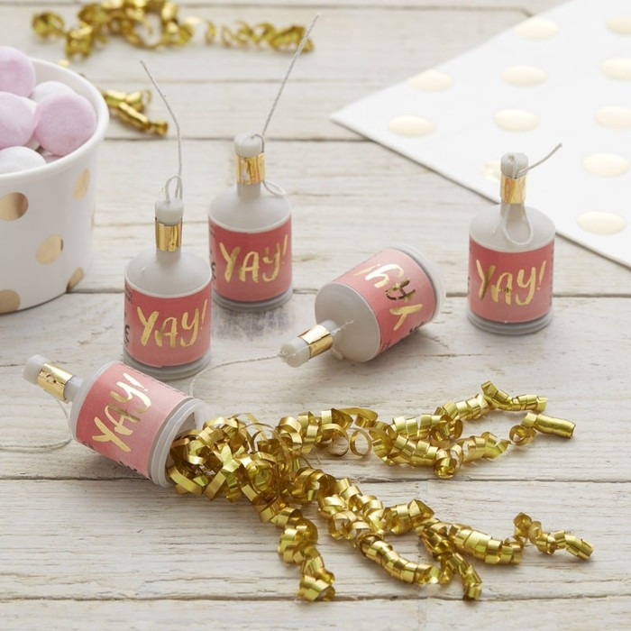 Gold Foiled Yay! Ombre Pink Party Poppers