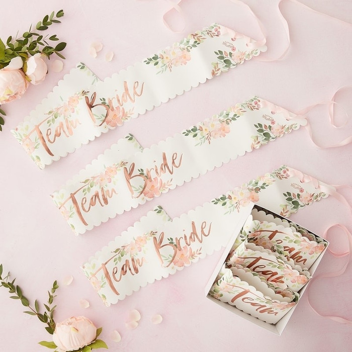Floral Hen Party -Team Bride Sashes - 6 Pack