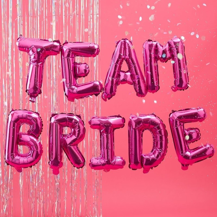 Hot Pink Team Bride Balloon Bunting - Bride Tribe