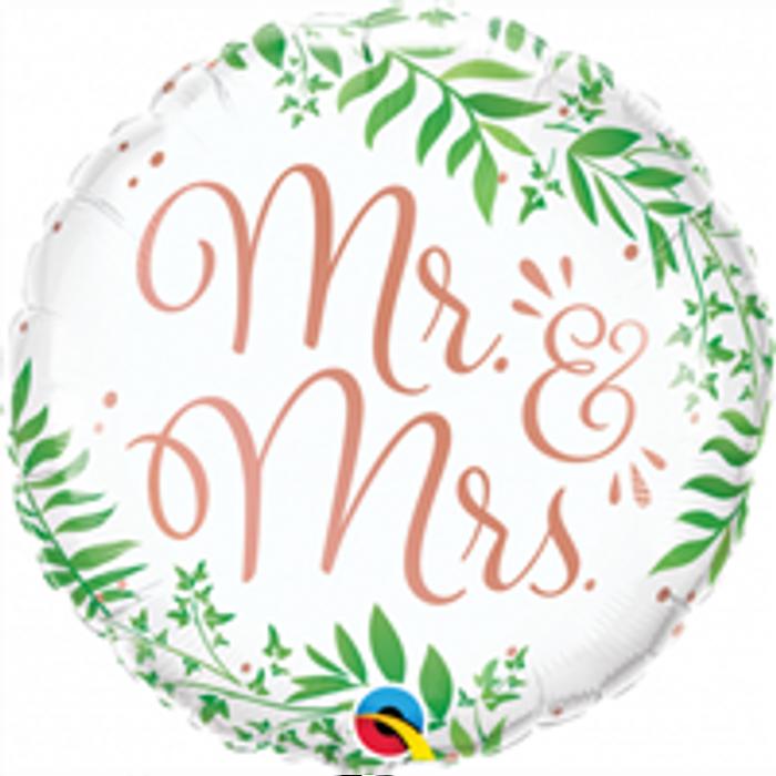 "18"" Mr & Mrs Elegant Greenery Foil"