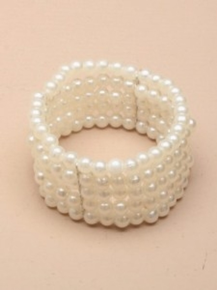 5 Row Stretch Pearl Bead Corsage Cuff Bracelet