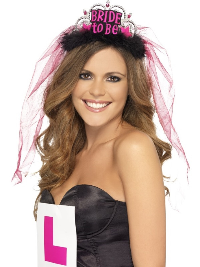 Bride To Be Tiara with Veil, Black, with Pink Letter