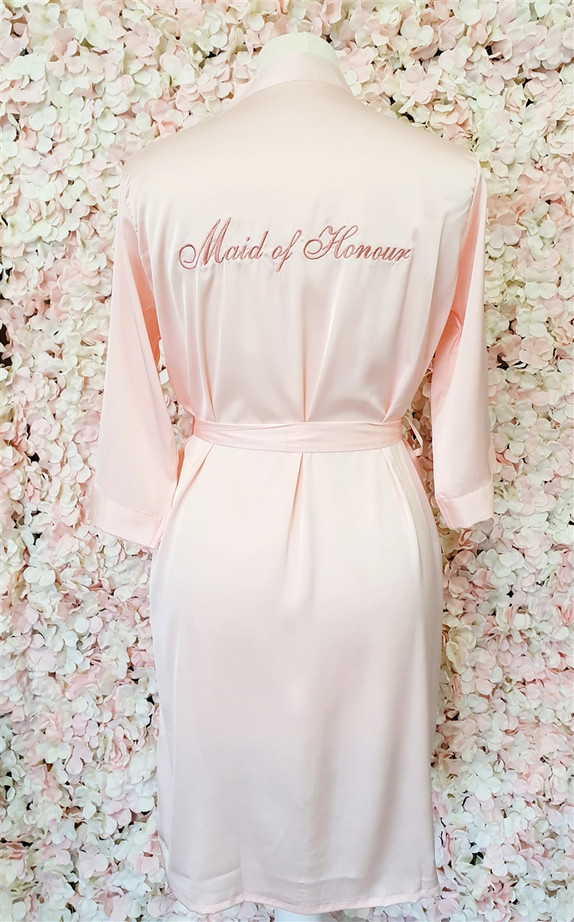 Maid of Honour Blush Satin Robe with Rose Gold Writing
