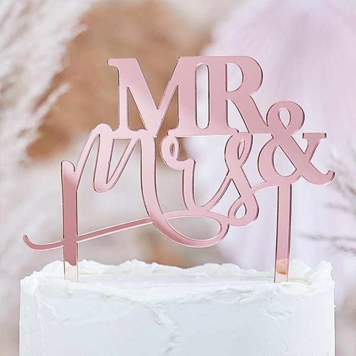 MR AND MRS ROSE GOLD TOPPER