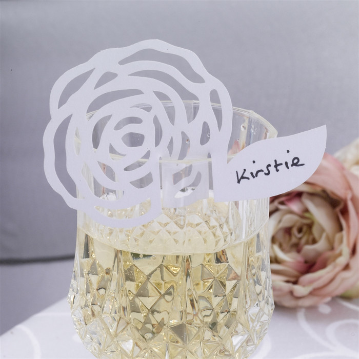 Place Card for Glass, White, Pack of 10