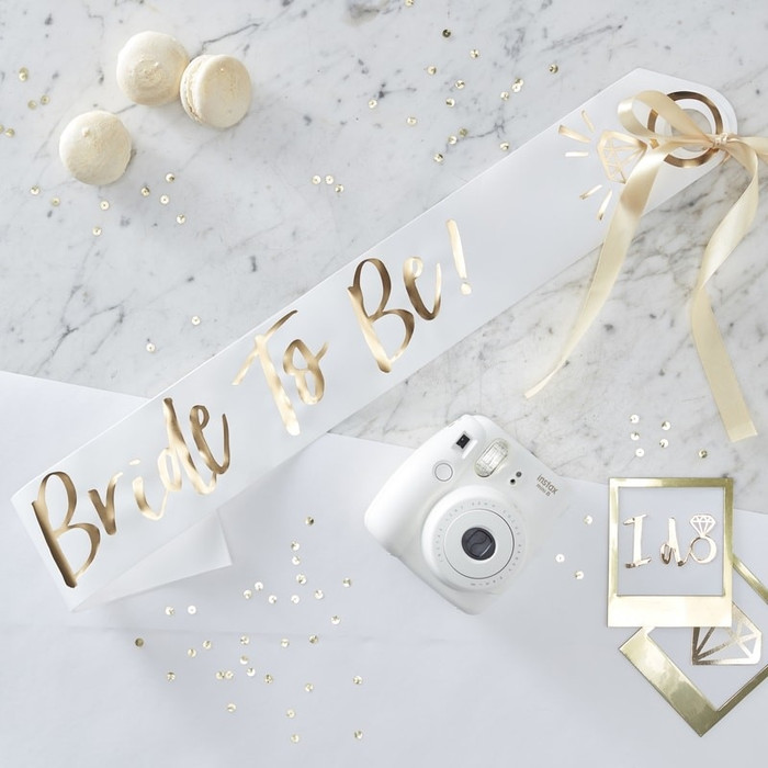 Sash, White and Gold Foiled Bride To Be, I do Crew