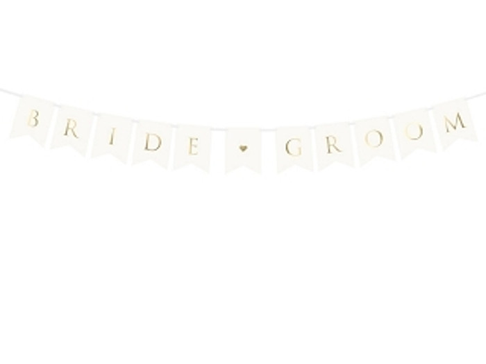 Banner Bride Groom, White, 15 x 85cm
