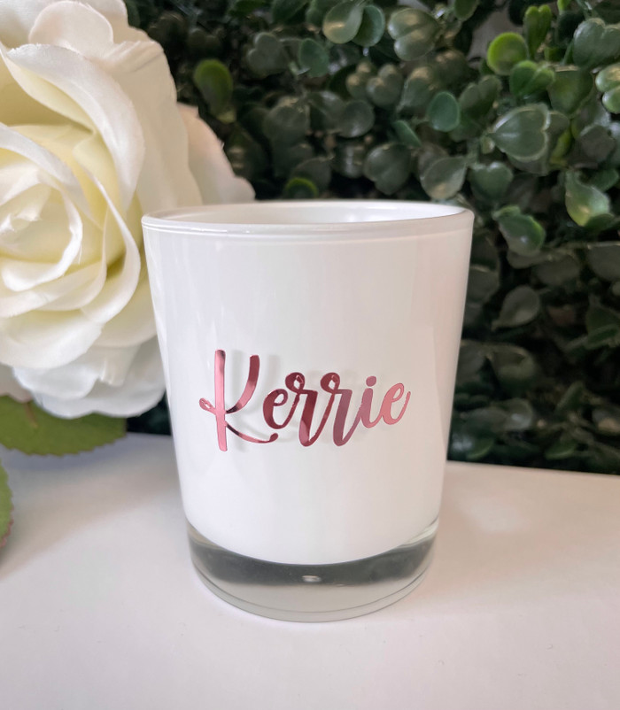 personalised white tealight candle holder