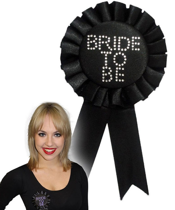 Bride to be Black Rosette with Stones