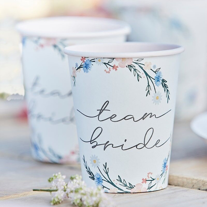 Boho - Eco Floral Paper Cups, 8 Cups