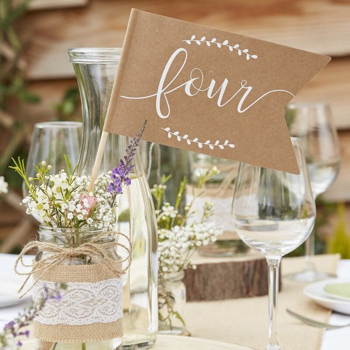 TABLE NUMBER FLAGS 1-12 - RUSTIC COUNTRY