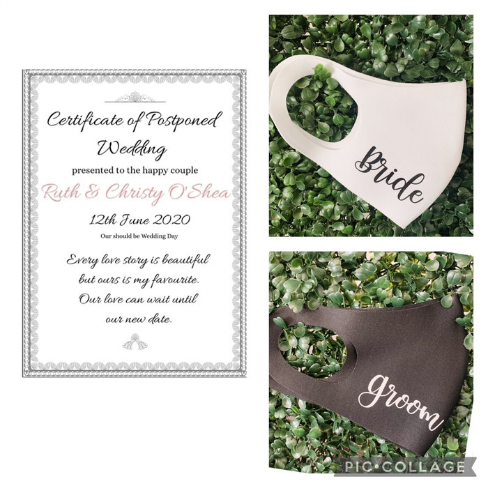 Bride Groom Face Masks with Certificate