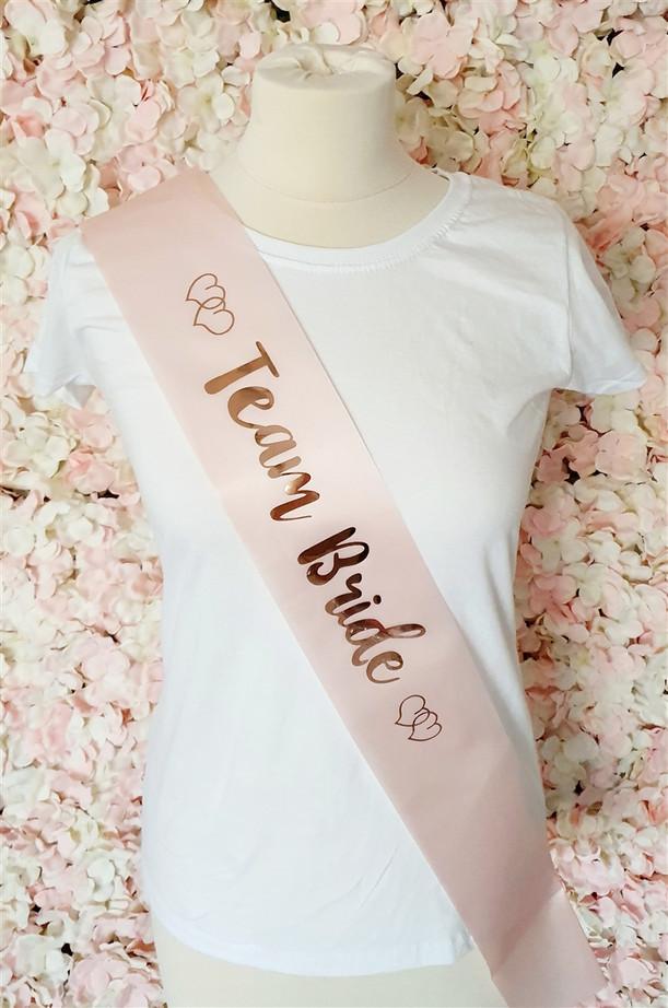 Team Bride Satin Sash, Pink & Rose Gold