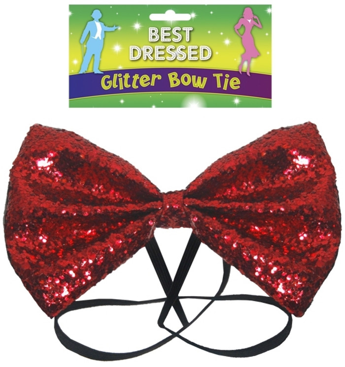 Bow Tie Glitter 12 by 7cm Red