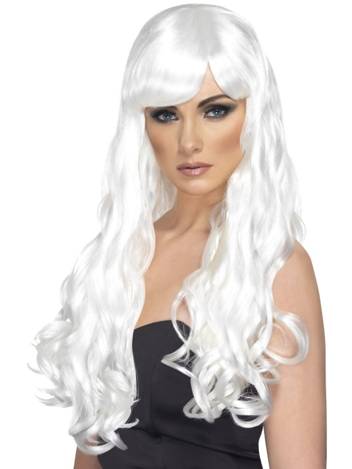 Desire Wig, White, Long, Curly with Fringe