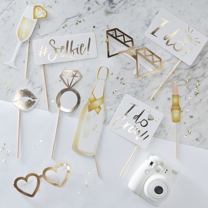 10 Gold Foiled Photo Booth Props - I Do Crew