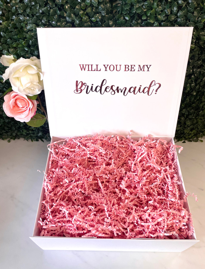personalised bridal party white proposal gift box