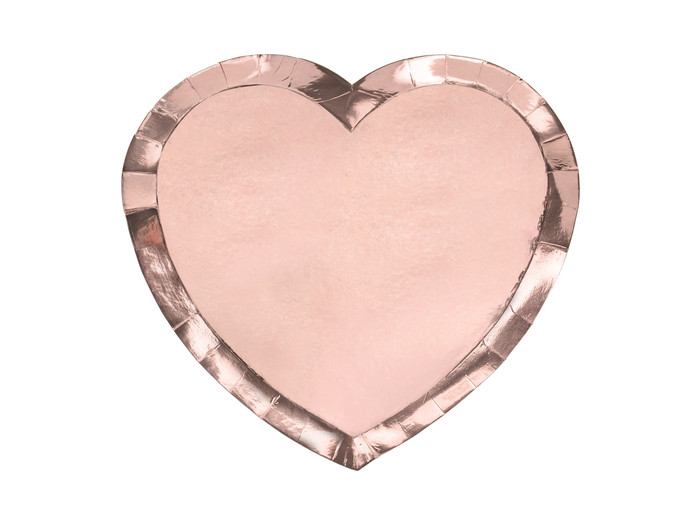 Plates Heart, rose gold, 21x19cm ( Pack of 6)