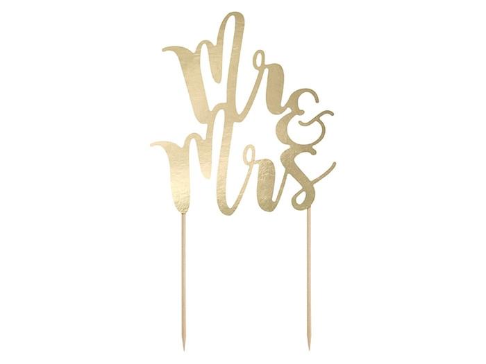 Mr & Mrs Cake Topper, Gold