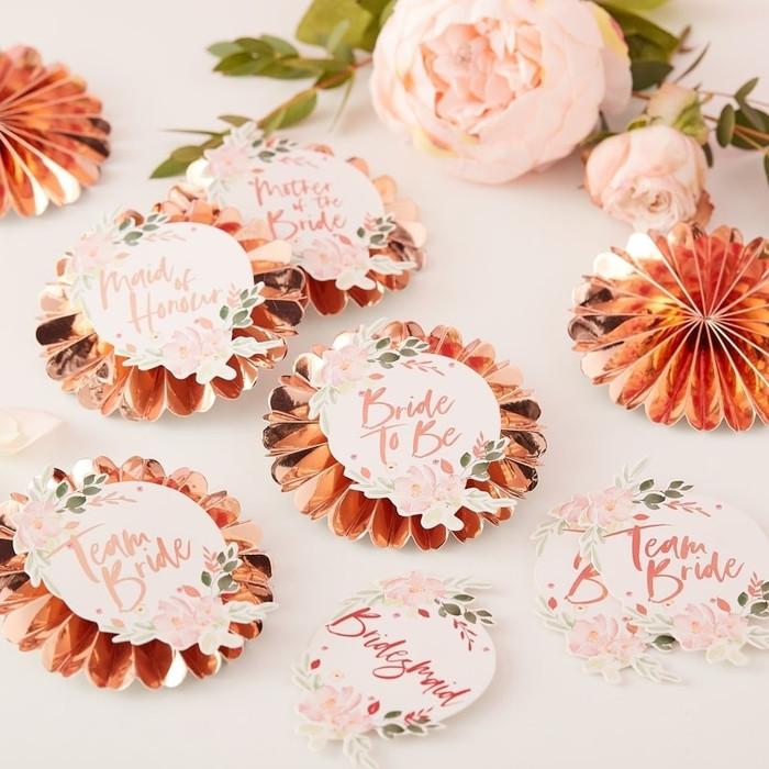 Team Bride Badges - Floral Hen Party