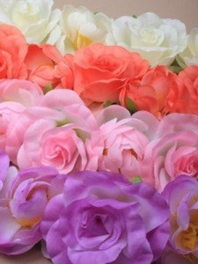 Coloured fabric roses garland bandeaux. In coral/white/purple and pink.