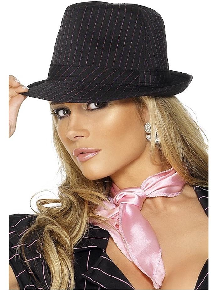 Fever Gangster Trilby Hat, Black, Pink Stripes, Deluxe