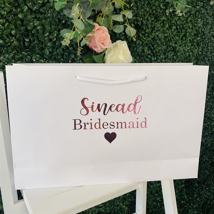personalised white bridal bag