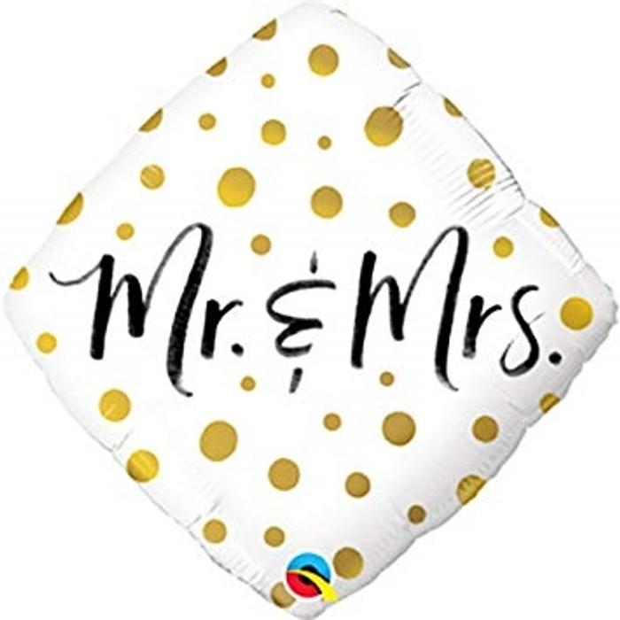 """18"""" Mr & Mrs Black & Gold Foil Balloon (1)"""