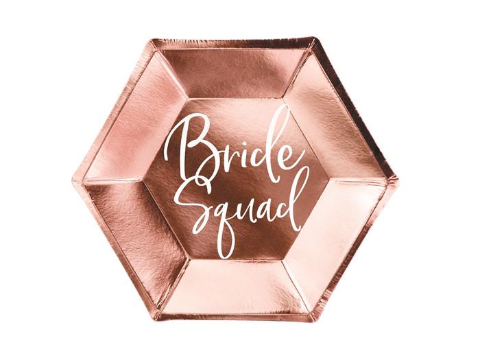 Plates Bride squad, rose gold, 23cm ( Pack of 6)