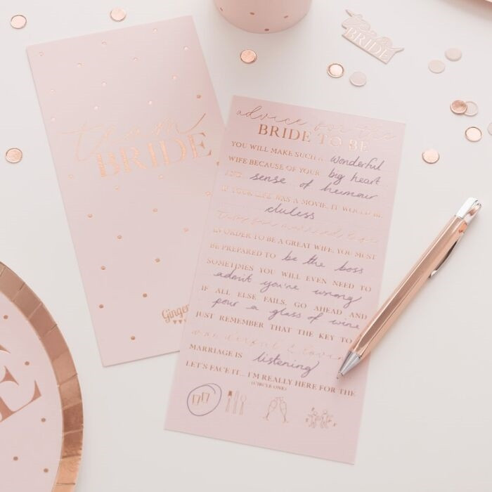 Blush - Hen Party Advice Cards Foiled