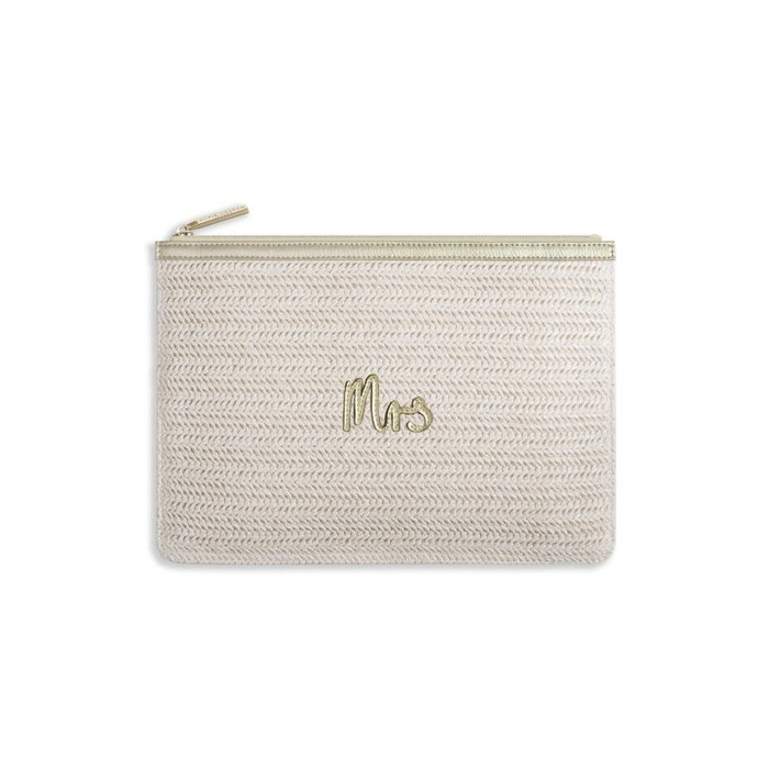 Katie Loxton Coco Clutch - Mrs, Large Straw Clutch Gold