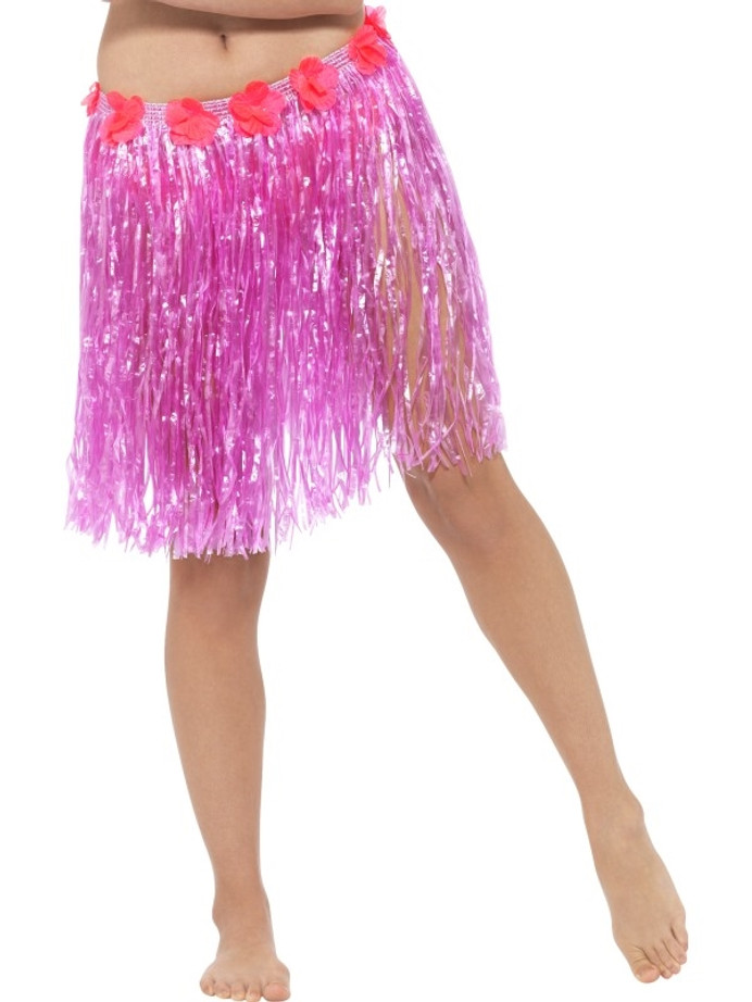 Hawaiian Hula Skirt with Flowers, Neon Pink, with