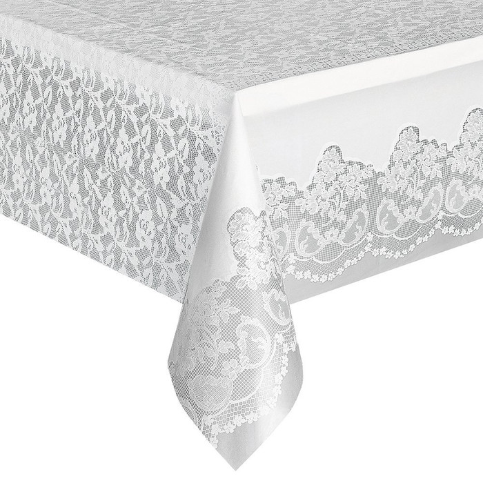 Tablecover White Lace Plastic