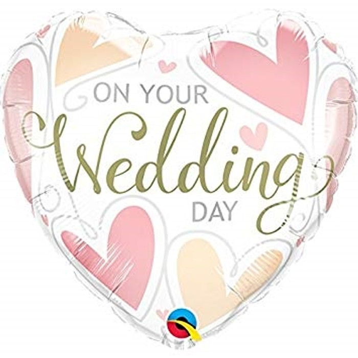"""18"""" On Your Wedding Day Heart Foil Balloon (1)"""