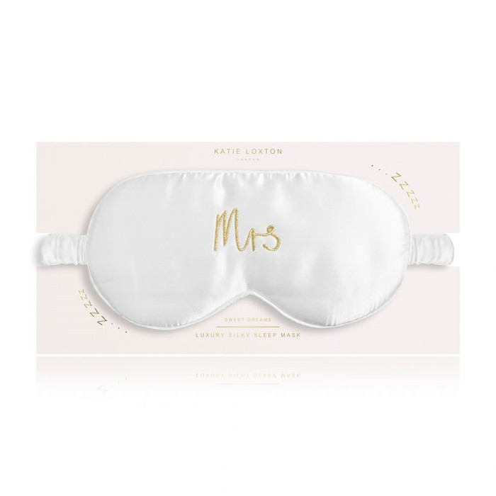 Satin Eye Mask - Mrs, Satin White with Gold Embroidery