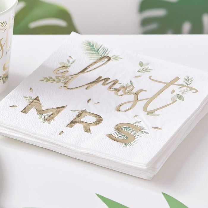 Gold Foiled Almost Mrs Paper Napkins - Eucalyptus