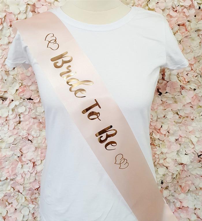 Bride to Be Satin Sash, Pink & Rose Gold